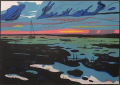 Blackeney Marshes, limited edition print, uk, beach scenes, at sunset