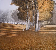 Amber Light, etching, print, tree's, forest, orange, art, for sale