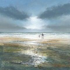 Raincoats and Wellingtons - Large Canvas Print, seascape, landscape, blue