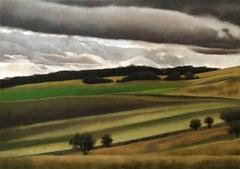 Near Ashridge, landscape painting green, yellow , Tim Woodcock-Jones, Original