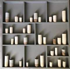 Three Clays III, Instillation, Ceramic, Wall art, Ceramic, Grey and white art,