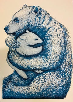 Bear Hugs (blue), limited edition prints, art for sale, affordable art