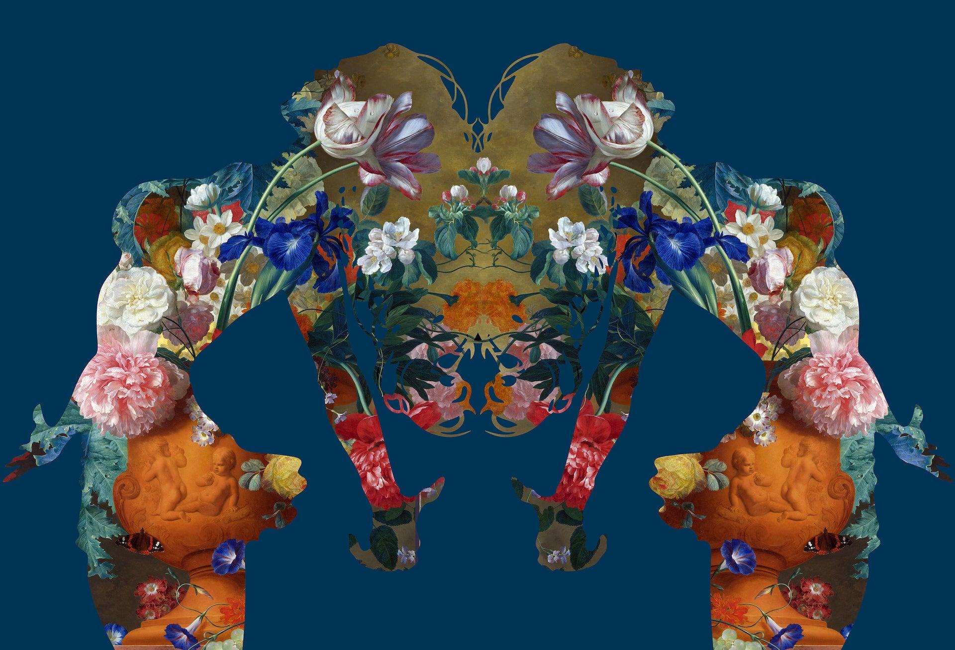 Agent X, MATER NATURA (DARK BLUE), Floral Art, Bright Art, Affordable Art