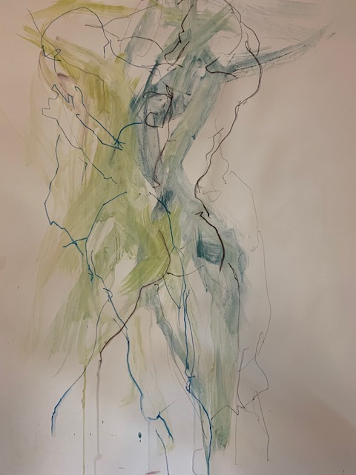 Judith Brenner, Rich Dancing 1, Original Abstract Impressionist Figurative Paint