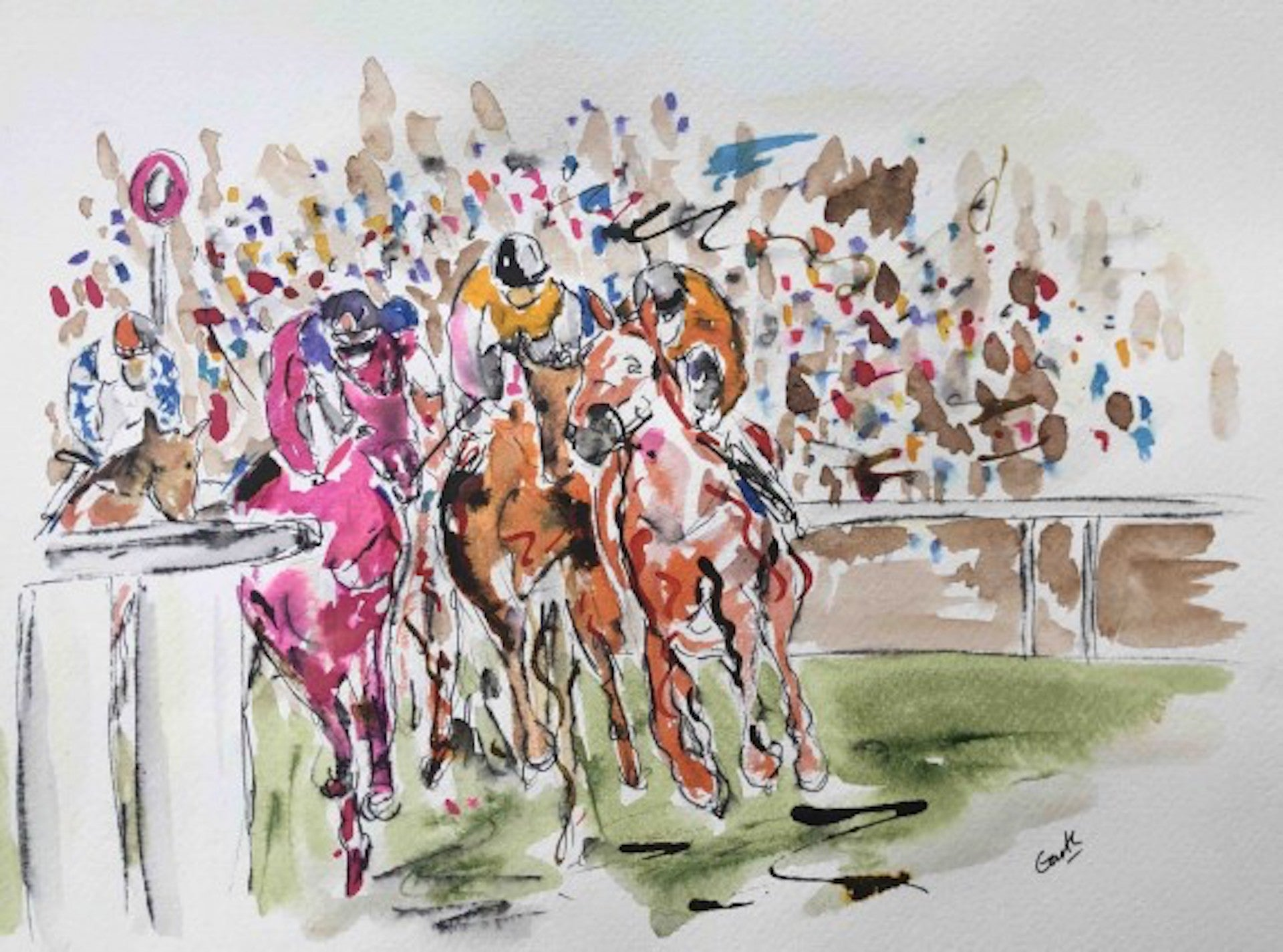 Garth Bayley, Round the Bend, Horse Racing Art, Affordable Art, Contemporary Art