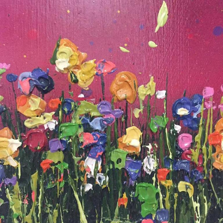 Magenta Glow, Colourful painting, abstract painting , pink, yellow, green meadow - Painting by Lee Herring