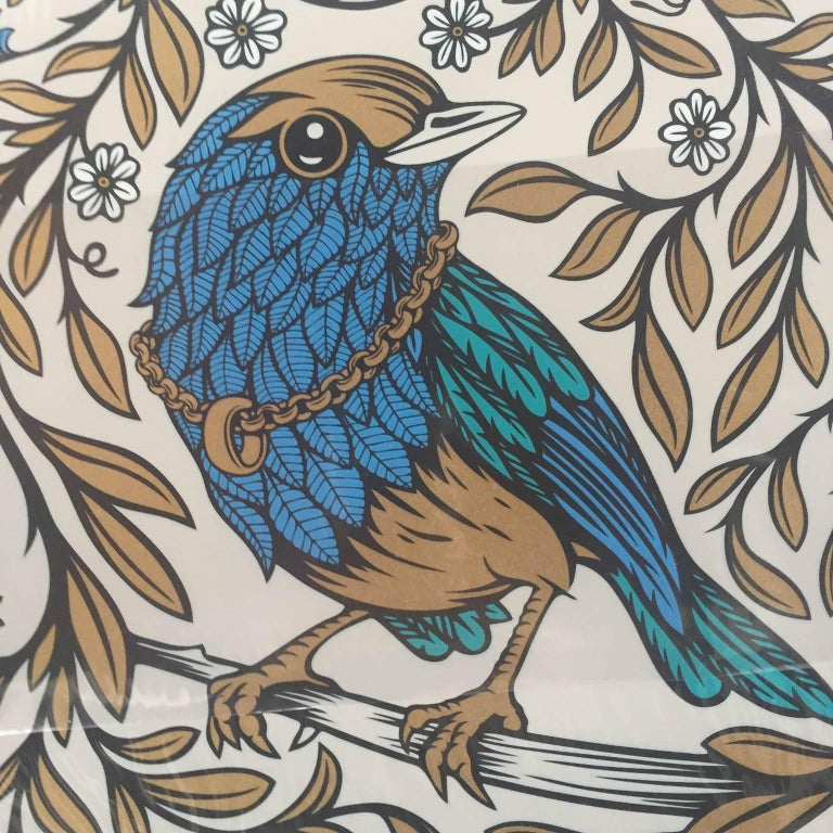 Blue Bird  - Brown Animal Print by Andy Wilx