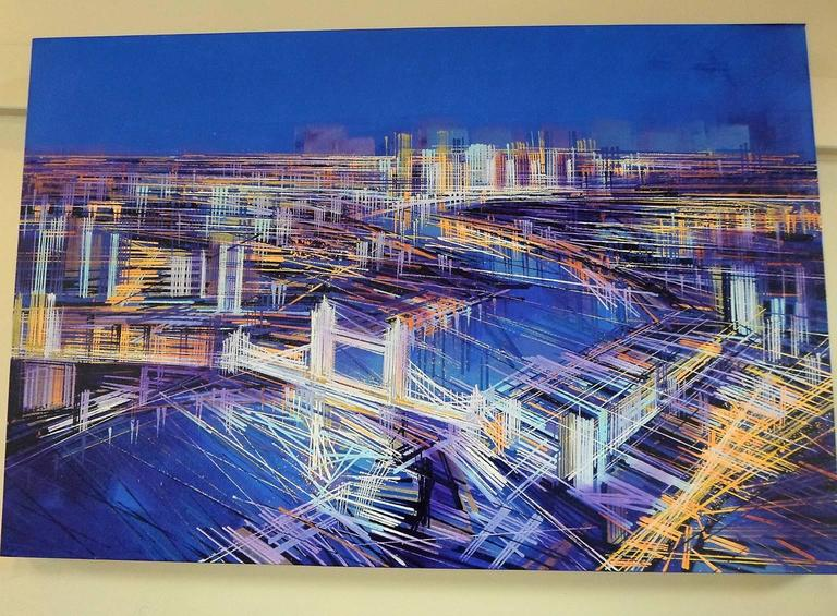 City of Lights, London, landscape painting , aerial view  - Painting by Marc Todd