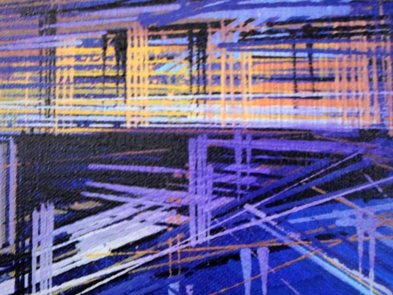 City of Lights, London, landscape painting , aerial view  - Blue Landscape Painting by Marc Todd
