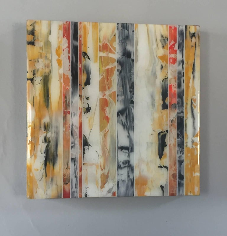 EQ Redefined Series: 1700-EU101-6, abstract wall art , yellow ,orange and black - Painting by ANDRZEJ MICHAEL KARWACKI
