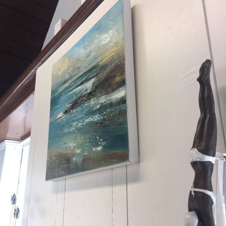Claire Wilsher: 'Cove 3' is a striking semi-abstract seascape of a cove. This work of art was created using oil paint and mixed media on a box canvas. Claire uses a technique of scratching, dripping and splattering the paint whilst adding elements