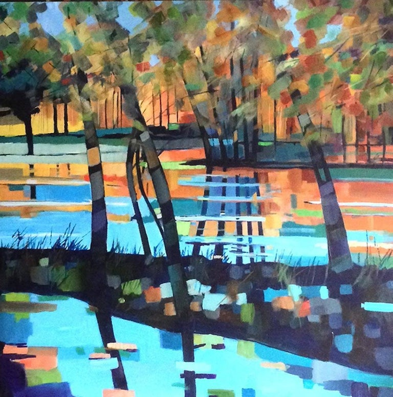 Stuart Roper Figurative Painting - Blue Lake, contemporary art landscape , blue painting water artwork, seascape
