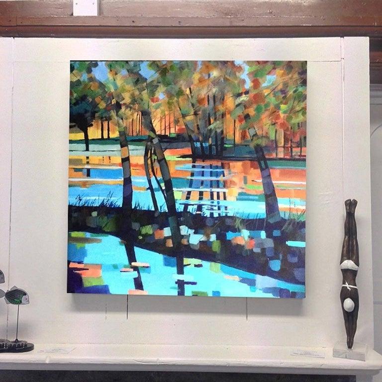 Blue Lake, contemporary art landscape , blue painting water artwork, seascape  - Painting by Stuart Roper