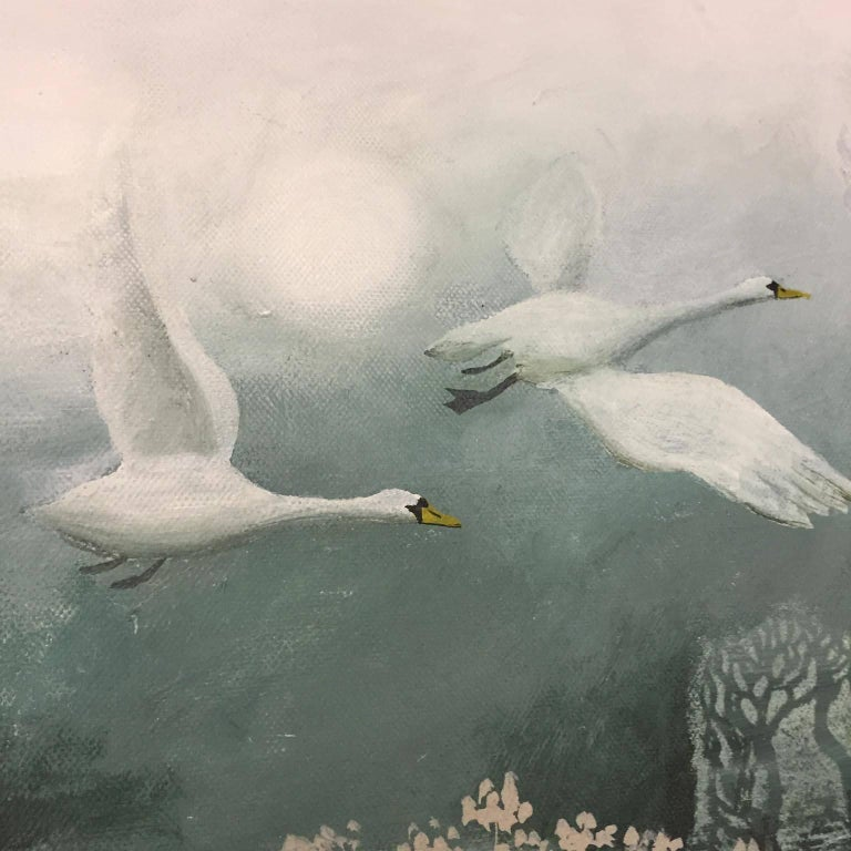 Birds Flying High, painting of a landscape , monotone colours , grey blue white For Sale 3