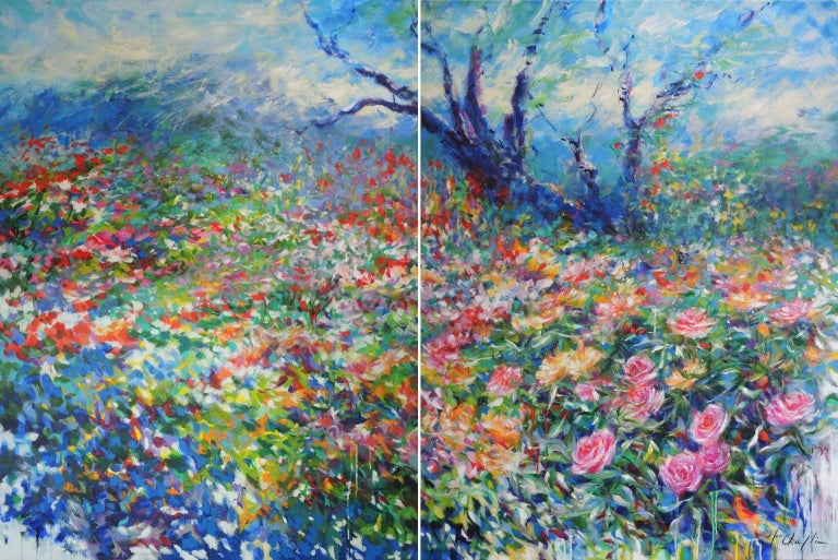 Mary Chaplin Landscape Painting - A walk in the rose garden of the Princess Grace of Monaco, large flower artwork