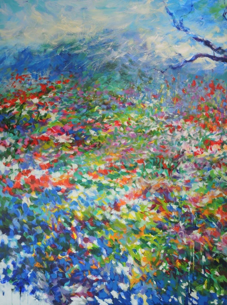 A walk in the rose garden of the Princess Grace of Monaco, large flower artwork - Painting by Mary Chaplin