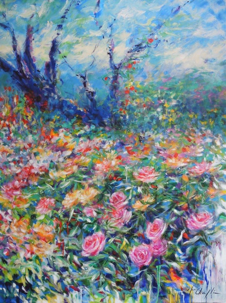 A walk in the rose garden of the Princess Grace of Monaco, large flower artwork - Abstract Impressionist Painting by Mary Chaplin