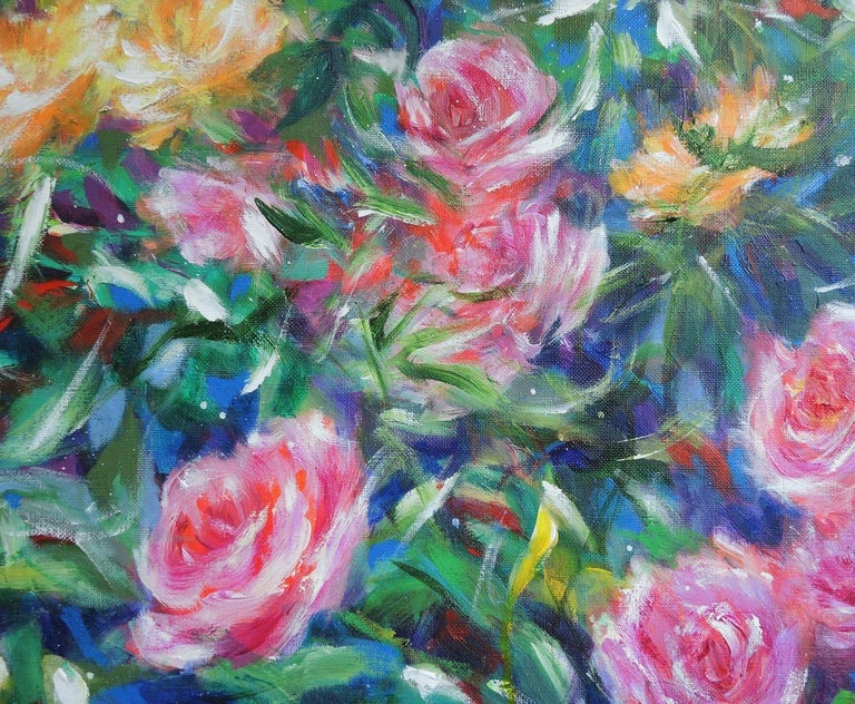 Mary Chaplin, ' A walk in the rose garden of the Princess Grace of Monaco ' Diptych 2 x 97x130cm  This work was inpired by the memory of a pleasant walk with friends to discover Princess Grace's rose garden in Monaco.  I wanted to grab the moment
