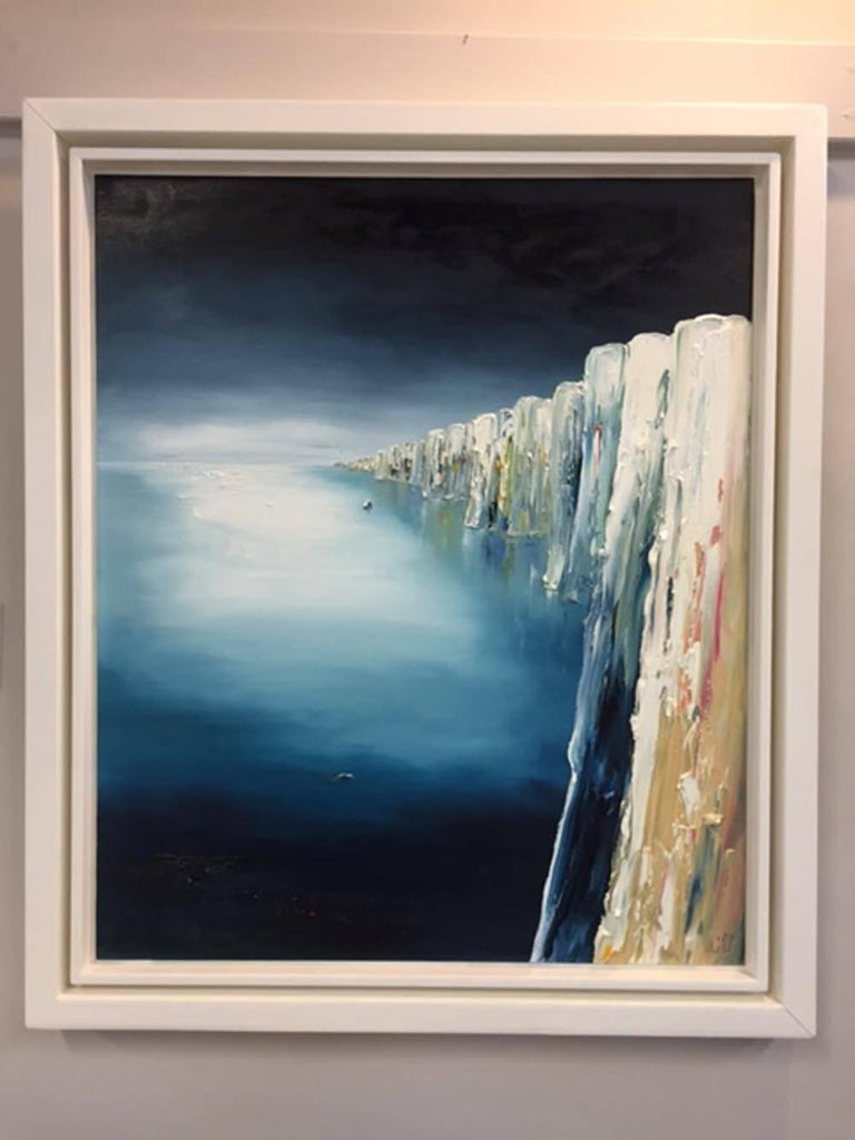 Into the Blue, the Alabaster Coastline, Original Art, Oil on Board, Linda Park - Contemporary Painting by Linda Park