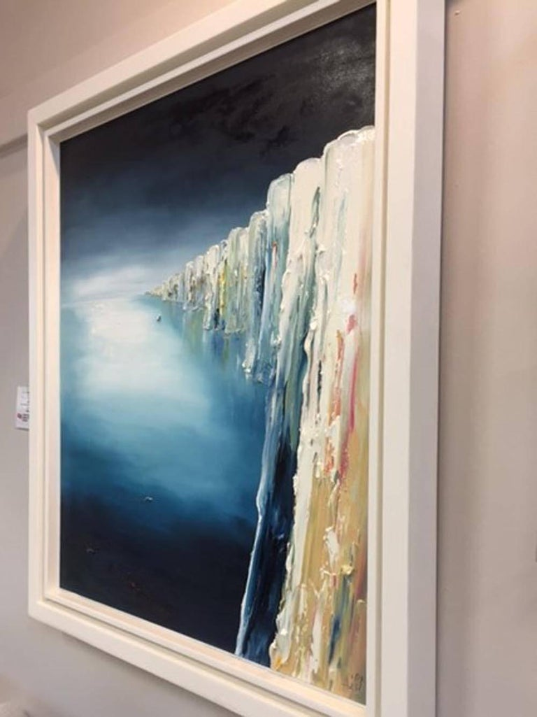 Into the Blue, the Alabaster Coastline, Original Art, Oil on Board, Linda Park - Black Landscape Painting by Linda Park