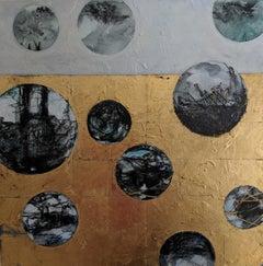 Descending, a mixed media painting