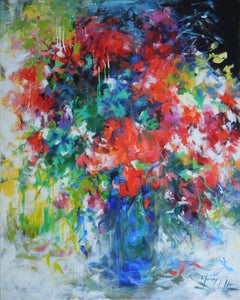 Bouquet in a Blue Vase, colourful abstract flower painting on canvas, Floral art