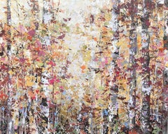 Golden Woods abstract impressionist contemporary landscape tree painting