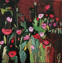 Opium Poppies at the Botanic Gardens II, Landscape painting, original art, small