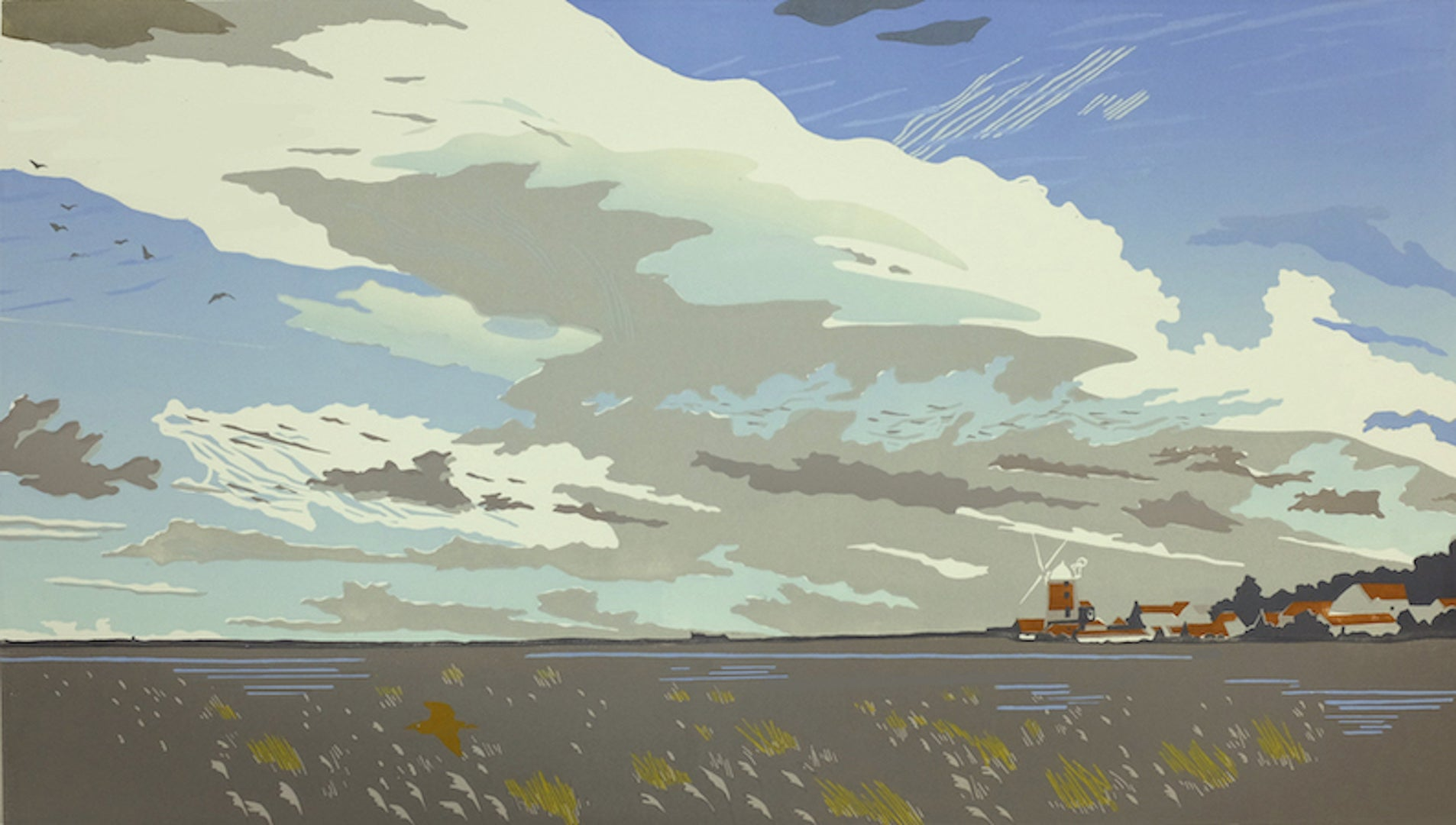 Colin Moore, Cley Marshes, Limited Edition Landscape Painting, Bright Art