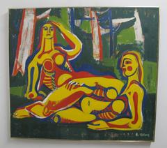 Large Abstract Figural Painting by Robert Gilberg