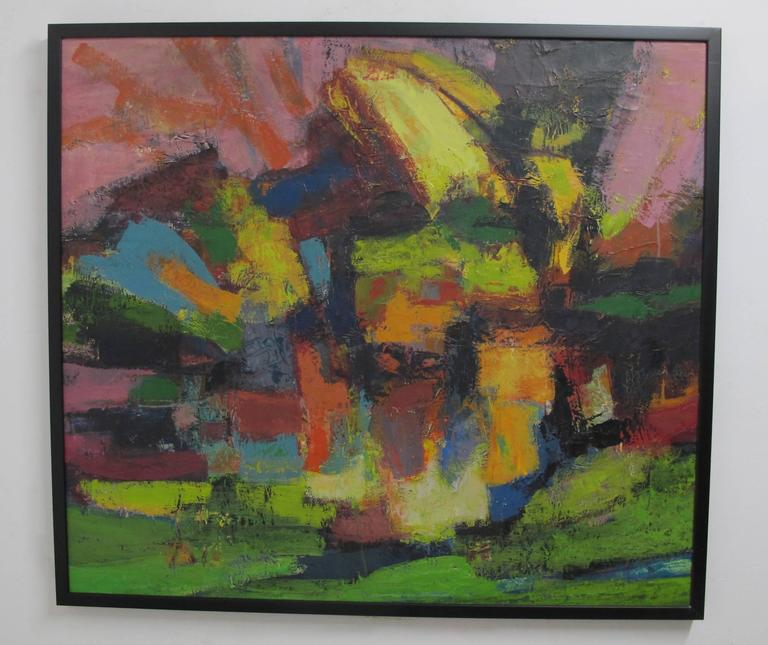 Mid-Century Modern Abstract Impressionist Painting, American circa 1960's