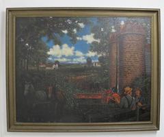 American Pastoral Farm Scene Painting