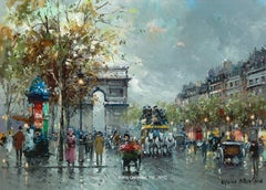 Arc de Triomphe - a busy street scene in Paris