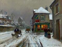 Soir de neige a Cormelles (Calvados)
