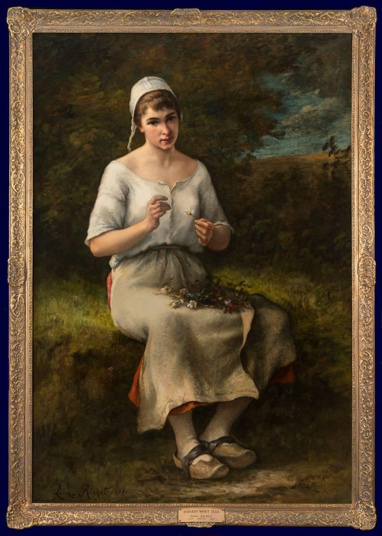 Mauguerite, large figurative painting exhibited at the Paris Salon in 1881 - Painting by Leon Richet