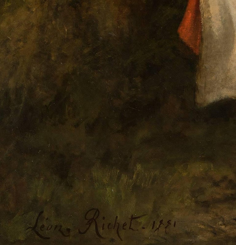Mauguerite, large figurative painting exhibited at the Paris Salon in 1881 - Black Figurative Painting by Leon Richet