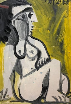 Nude in Green, Cubist Style Oil on Board by French Artist Raymond Devieve
