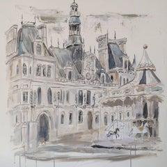 Palace de l'Hôtel de Ville / Paris, France, 2017 Impressionist Painting