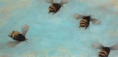 Bees 1-06, Oil on Board Painting Depicting Four Bees on Blue Background