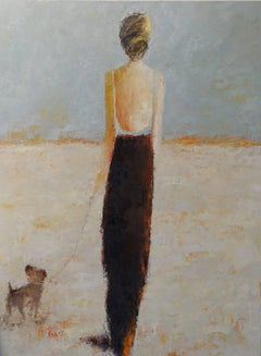 'Afternoon Stroll' Large Size Framed Oil on Canvas Figurative Painting
