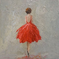 'Lady in Red' Small Size Oil on Canvas Figurative Framed Painting