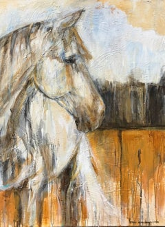 'Lucky', American Mixed Media on Canvas Horse Painting
