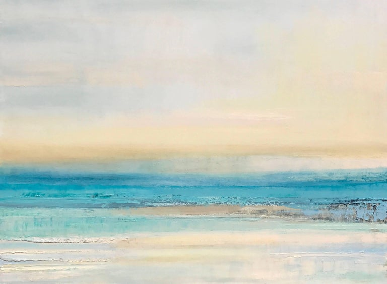 'By The Turquoise Sea' Oil on Canvas, Abstract Landscape Painting