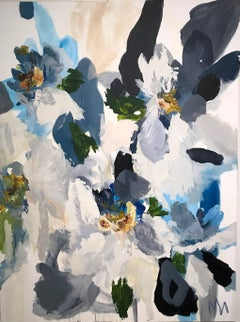 'Blooms of Indigo VI' Acrylic and Marble on Canvas, Abstract Floral Painting