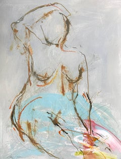'Nude 102' Mixed Media on Paper Figurative Painting