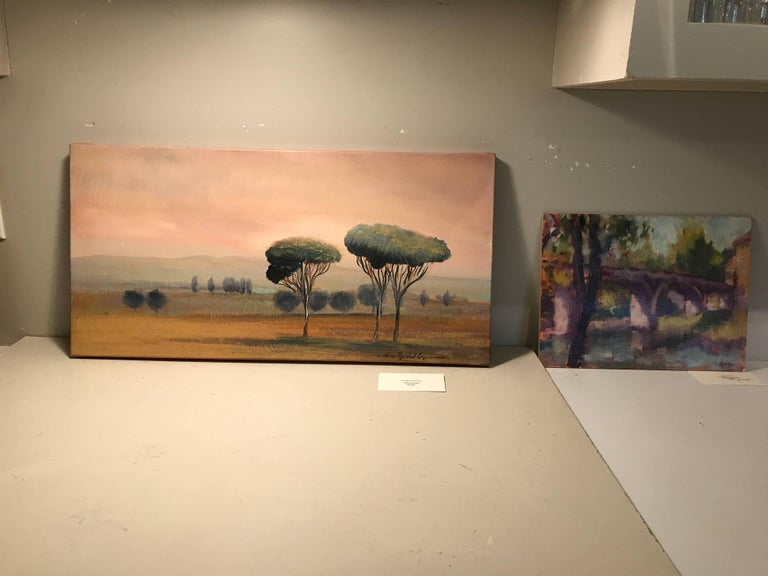 'Cypress at Sunset' Oil on Canvas French Landscape Painting For Sale 1
