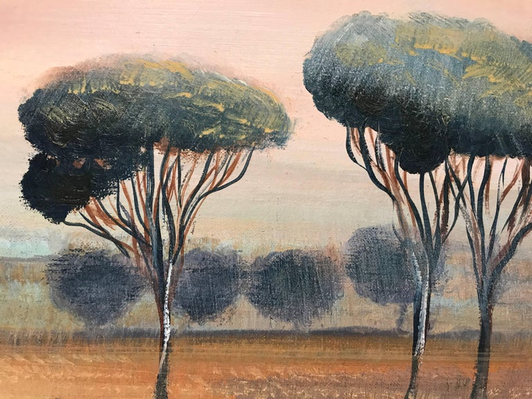 'Cypress at Sunset' Oil on Canvas French Landscape Painting For Sale 3