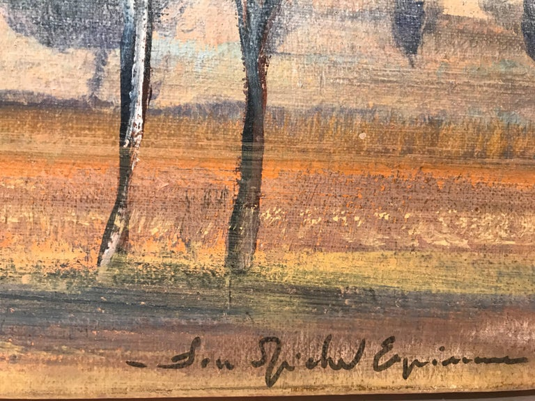 'Cypress at Sunset' Oil on Canvas French Landscape Painting For Sale 4