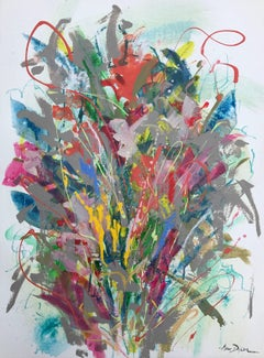 'Spring Splash No. 1' Acrylic on Paper Abstract Floral Painting