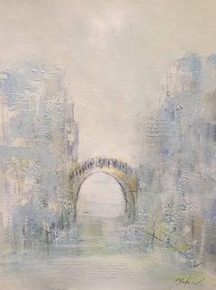 'Romance et le Pont' Oil on Paper Impressionist Cityscape Painting